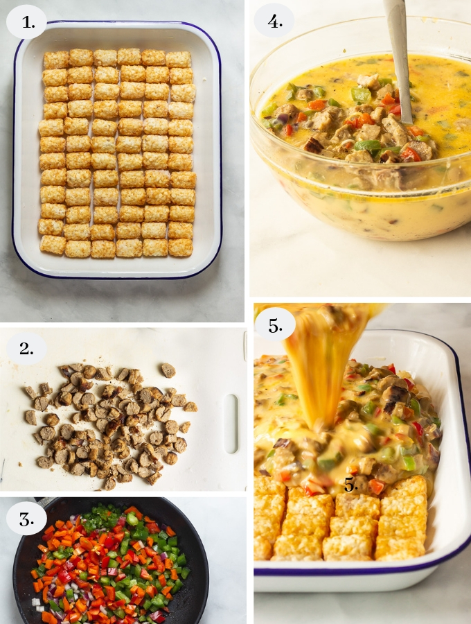 A tater tot breakfast casserole with crispy tater tots, eggs, melted cheese, sausages, peppers and onions step by step recipe