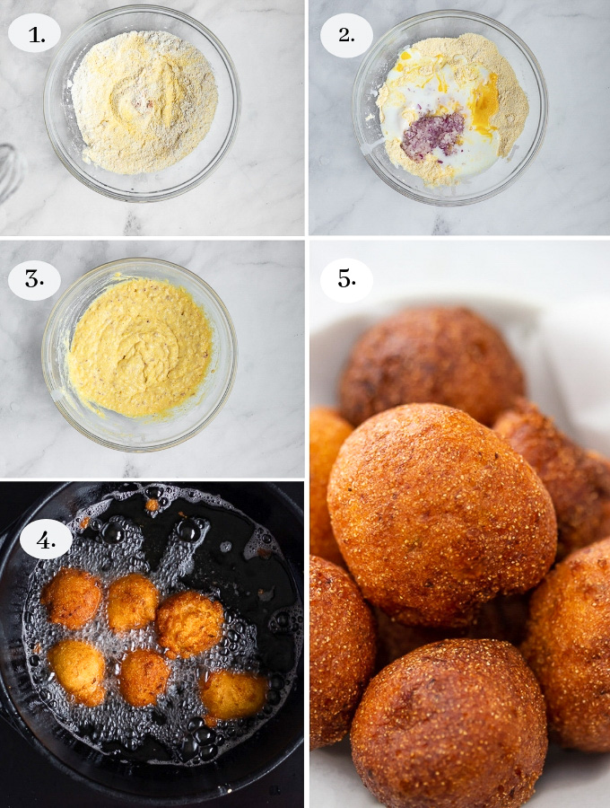 A bowl of golden crisp and soft not dense hush puppies. A recipe for amazing hush puppies