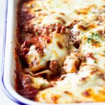 A plate of ravioli lasagna bake with meat sauce