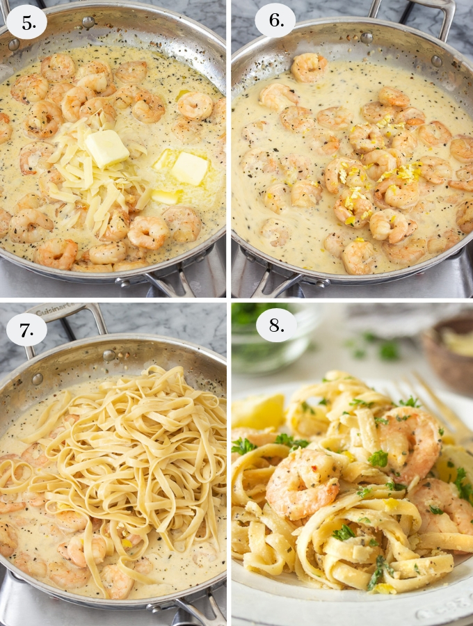Step by step pics on how to make lemon garlic parmesan shrimp pasta
