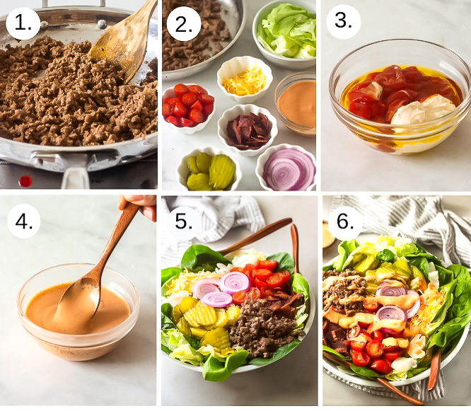Step by step photos to make a cheeseburger in a bowl