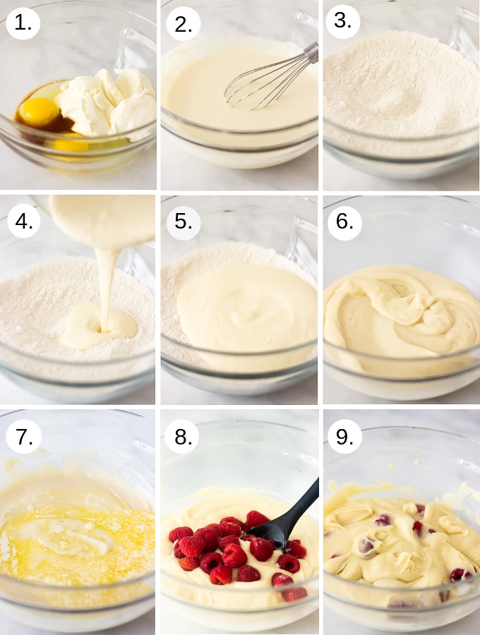 Step by step photos to make Raspberry Ricotta Cake with Lemon Curd Glaze