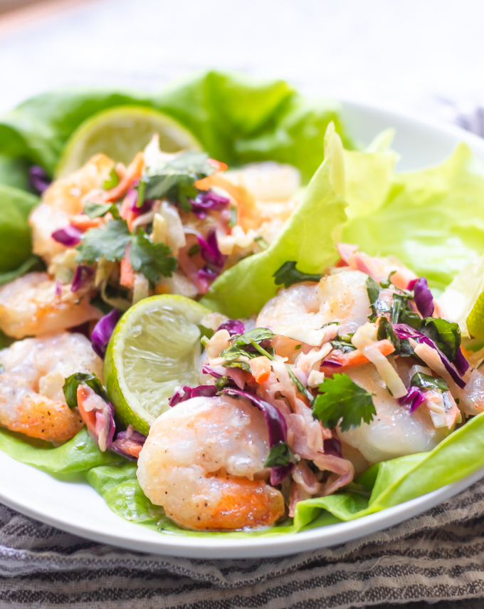 shrimp lettuce wraps with sweet chili mayo