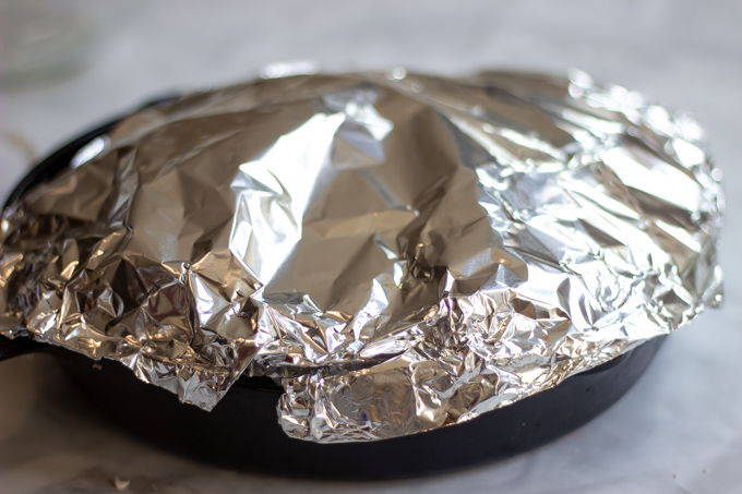 tented foil over the skillet