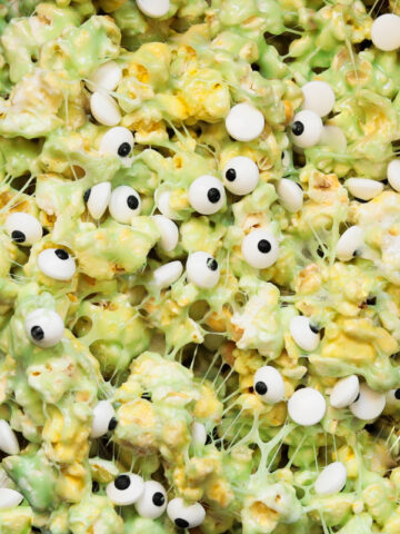a closeup pic of slime popcorn with candy eyes