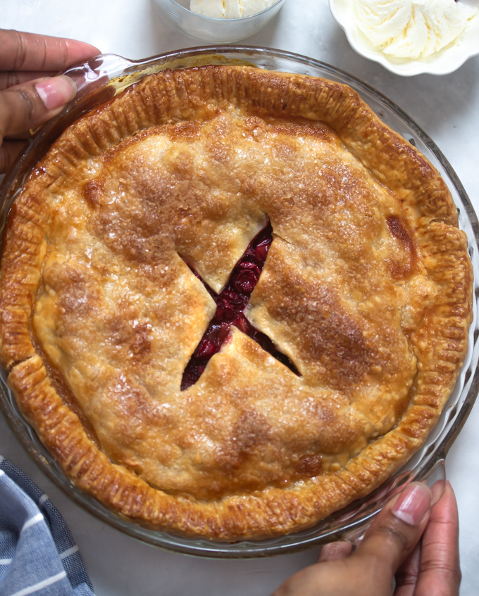 Cranberry apple pie in a pie dish
