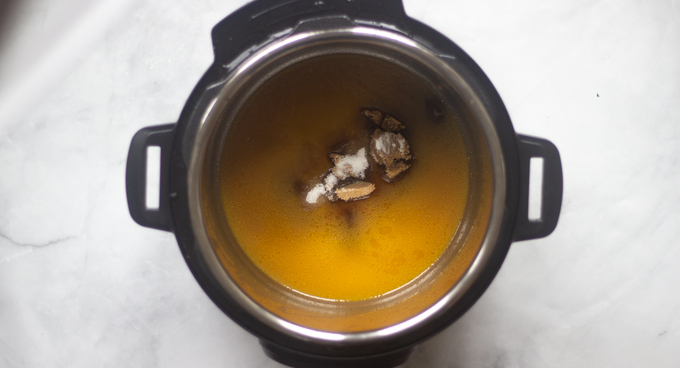 Instant pot with oj, butter and sugar