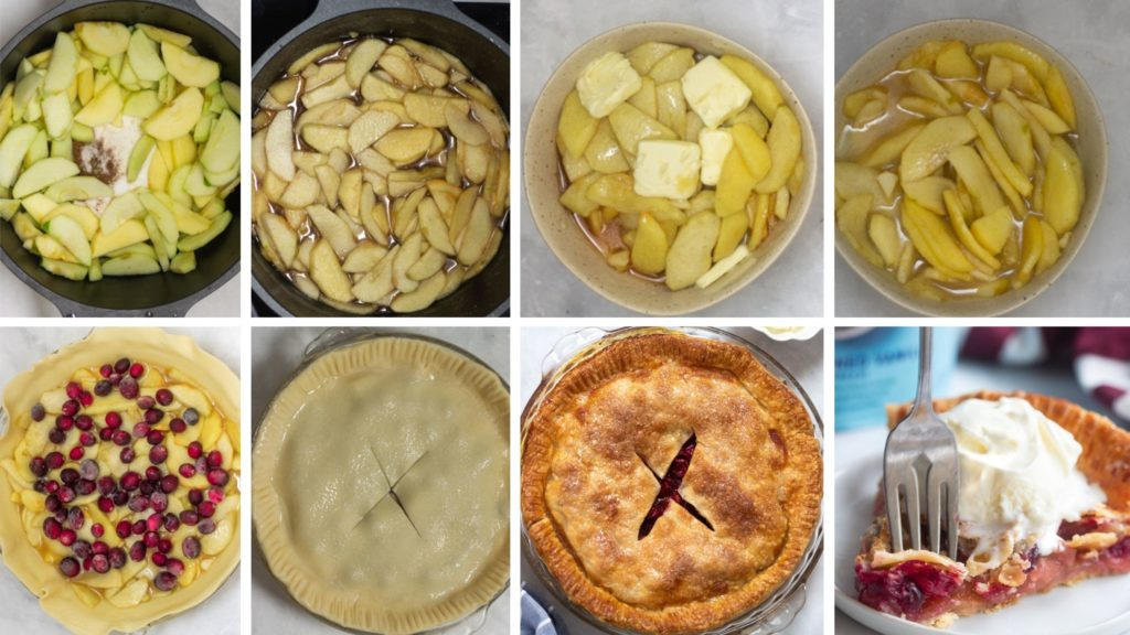Picture of step by step with pictures instruction to make a cranberry apple pie