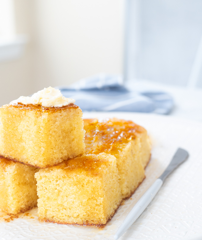 a plate of southern sweet cornbread
