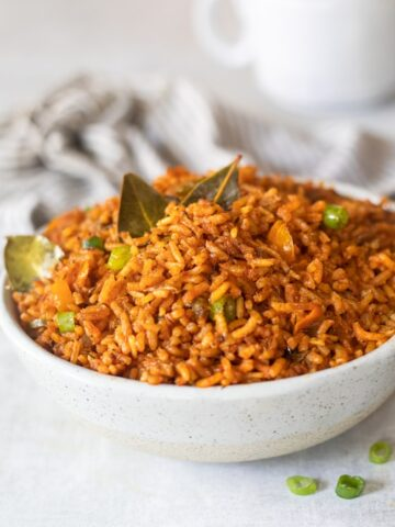 A bowl of west african jollof rice