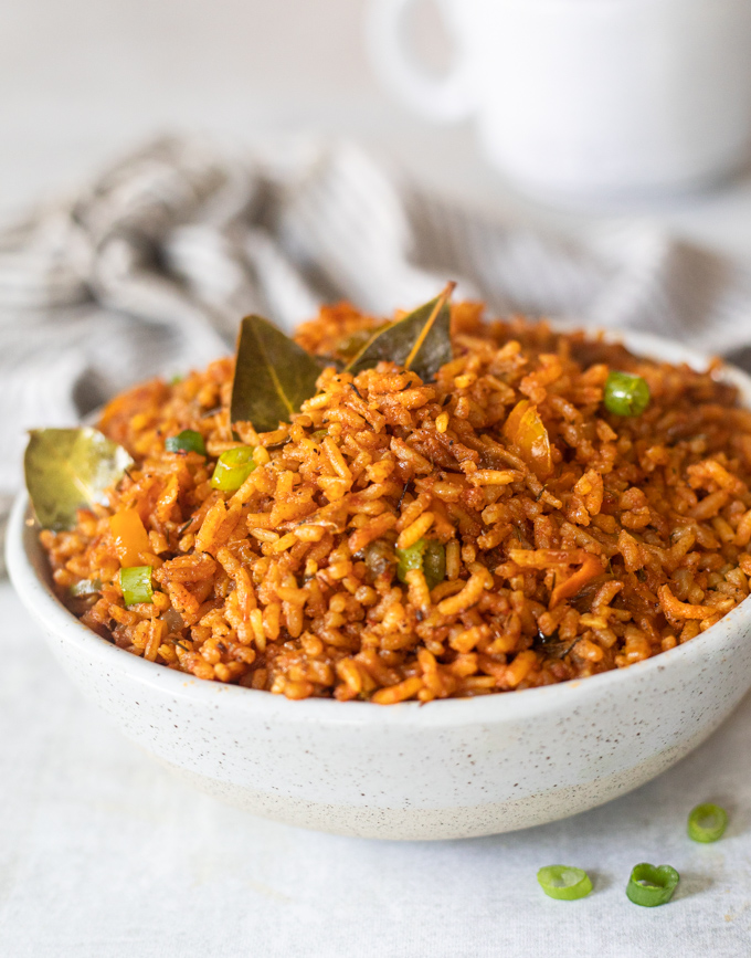 A bowl of west african jollof rice