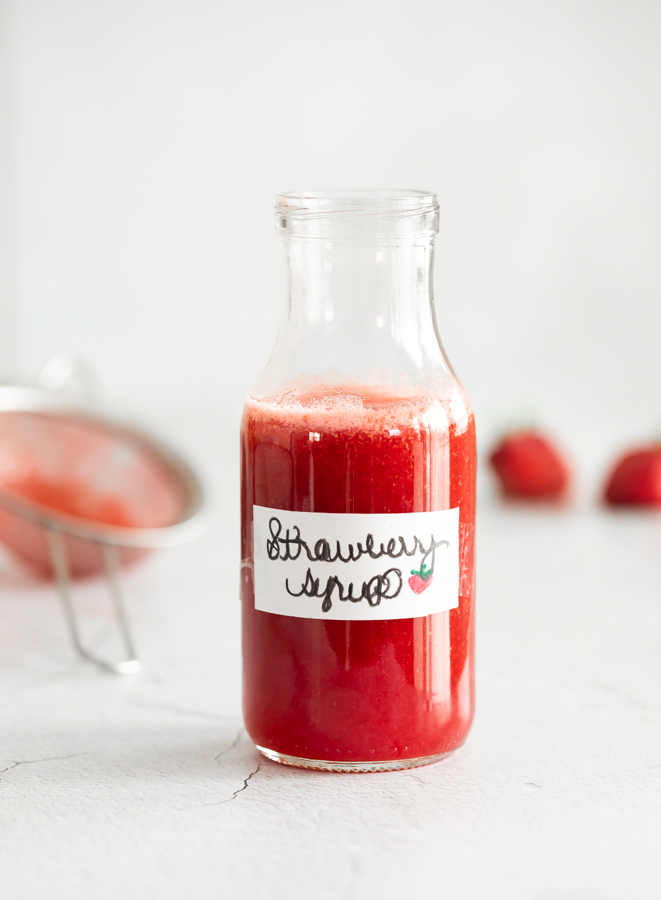 a photo of strawberry syrup