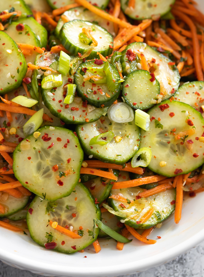 A picture of Asian cucumber and carrot salad