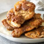 stovetop skinless chicken thighs on a plate