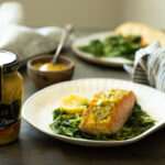 a plate of honey mustard salmon with Maille Honey Dijon