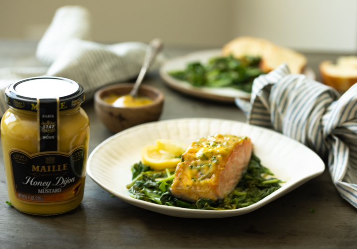 a photo of oven baked salmon with honey mustard