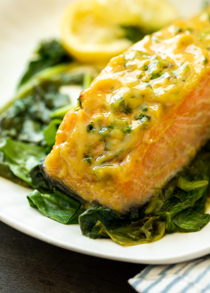 A plate of roasted salmon and spinach