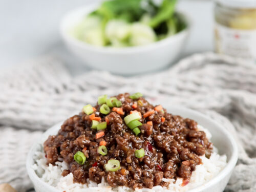 Hamburger stir fry in a sweet and spicy chili sauce