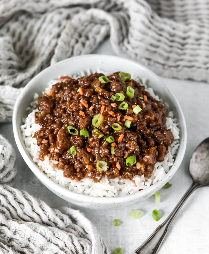 A bowl of hamburger stir fry in a sweet chili sauce