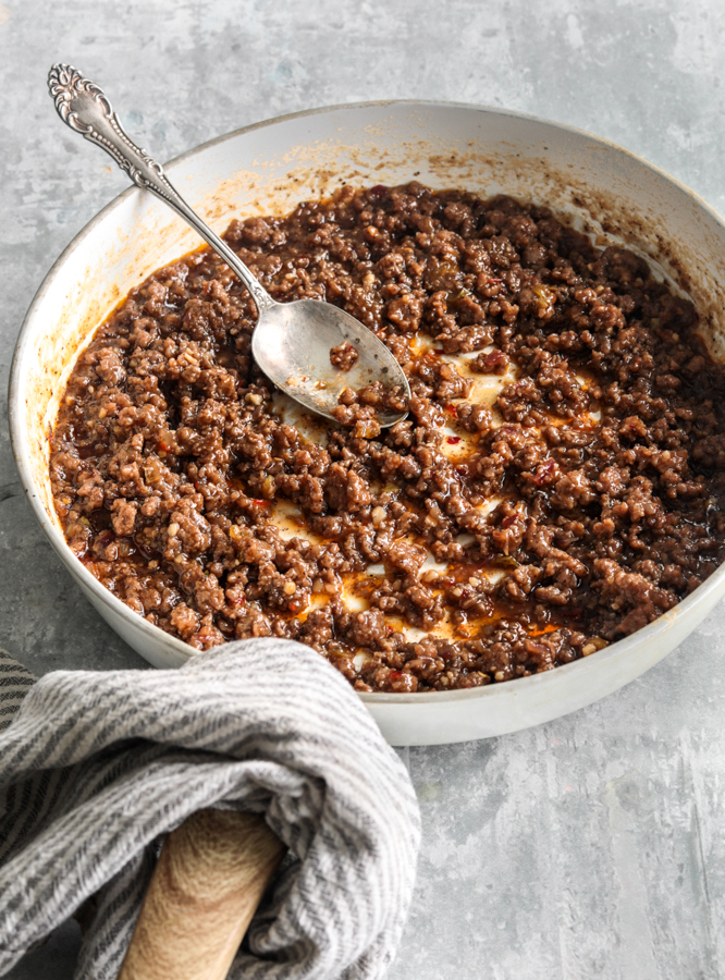 Korean ground beef in a skillet with sweet chili sauce