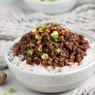 Korean ground beef in a bowl with sweet chili sauce