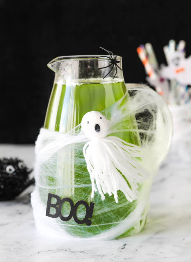Green Halloween drink for kids in a pitcher