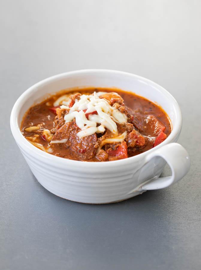 Pizza soup in a soup white soup bowl
